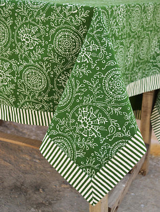 Kalamkari Green and White Screen Printed Cotton Table Cover (60in x 60in)