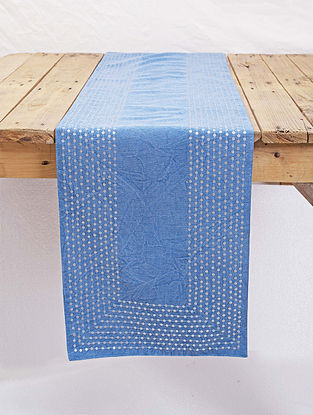 Blue Cotton Table Runner with Hand Sequins Work (13in x 72in)