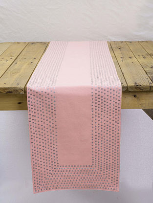 Pink Cotton Table Runner with Hand Sequins Work (13in x 72in)