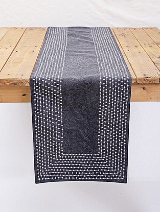 Charcoal Cotton Table Runner with Hand Sequins Work (13in x 72in)