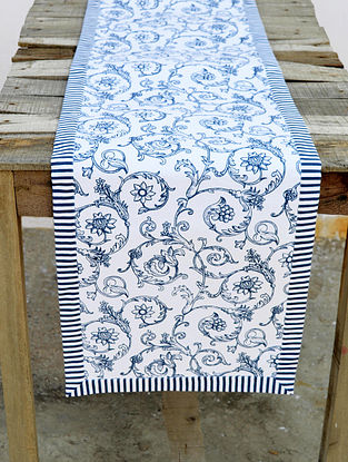 Blue and White Screen Printed Cotton Table Runner (13in x 72in)