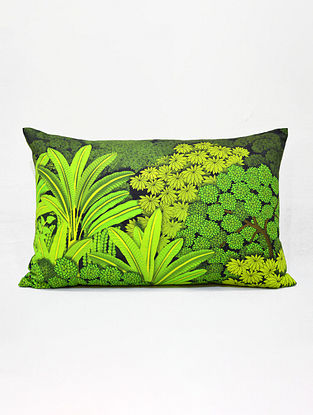Pichwai Green Printed Cotton Cushion Cover (14in x 21in)