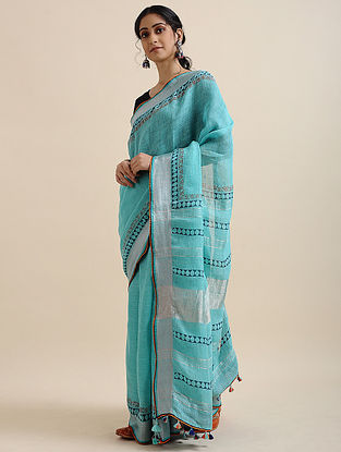 Turquoise Block-printed Cotton Linen Saree with Tassels