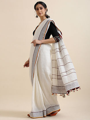 Ivory Block-printed Cotton Linen Saree with Tassels