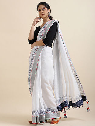 Ivory-Blue Block-printed Cotton Linen Saree with Tassels