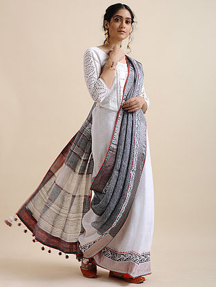 Ivory-Grey Block-printed Cotton Linen Saree with Tassels