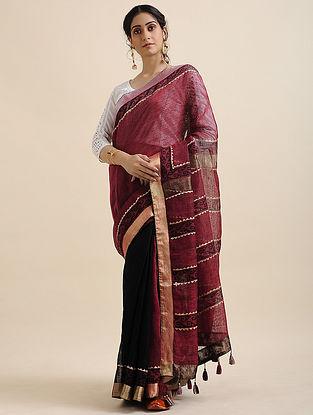 Pink-Black Block-printed Cotton Linen Saree with Tassels