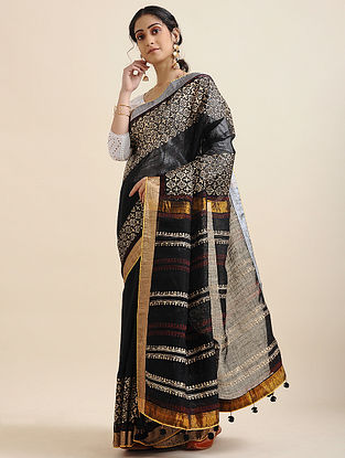 Black-Ivory Block-printed Cotton Linen Saree with Tassels