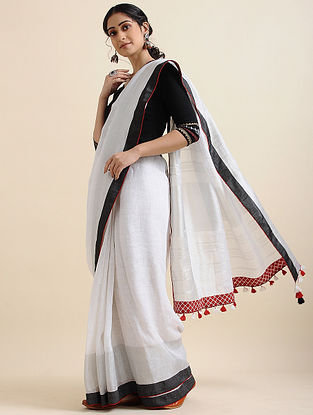 Ivory-Black Block-printed Cotton Linen Saree with Tassels