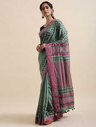 Green-Pink Block-printed Cotton Linen Saree with Tassels