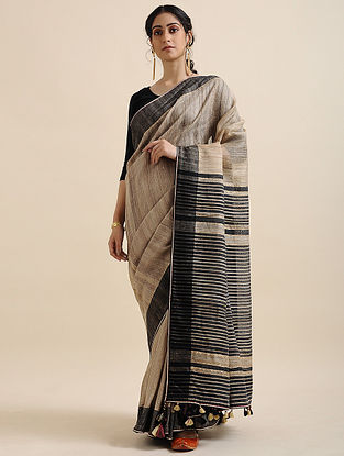 Beige-Black Block-printed Tussar Linen Saree with Tassels