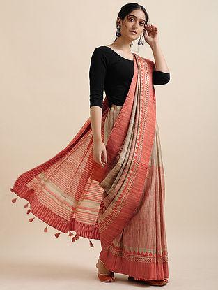 Pink-Beige Block-printed Tussar Linen Saree with Tassels