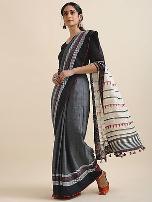 Grey-Ivory Block-printed Cotton Linen Saree with Tassels