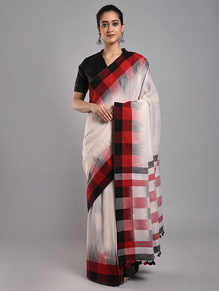White-Red Ikat Cotton Saree