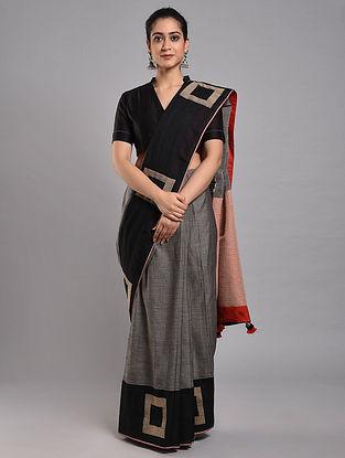 Grey-Black Cotton Saree
