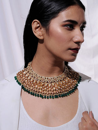 Red Meenakari Vellore Polki Gold Plated Silver Necklace with Green Onyx