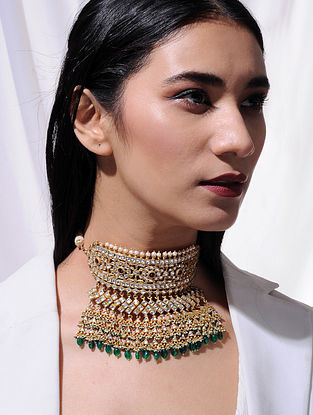 Tourmaline and Green Onyx Vellore Polki Gold Plated Silver Aadh Necklace with Freshwater Pearls