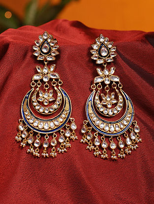Blue Meenakari Vellore Polki Gold Plated Silver Earrings with Freshwater Pearls
