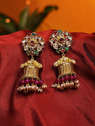 Ruby, Tourmaline and Green Onyx Gold Plated Silver Jhumki Earrings with Pearls