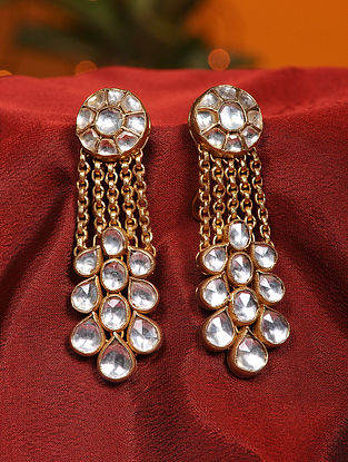Vellore Polki Gold Plated Silver Earrings