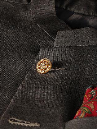 Gold Plated Vellore Polki Silver Button