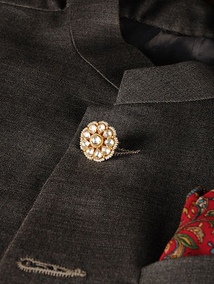 Gold Plated Vellore Polki Silver Button with Pearls