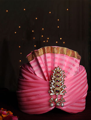 Gold Plated Vellore Polki Silver Kalgi with Tourmaline and Freshwater Pearls