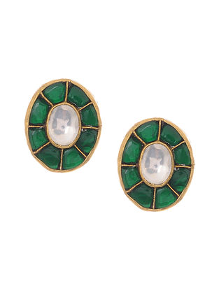 Green Gold Plated Kundan Inspired Silver Earrings
