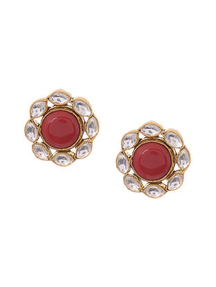 Red Gold Plated Kundan Inspired Silver Earrings