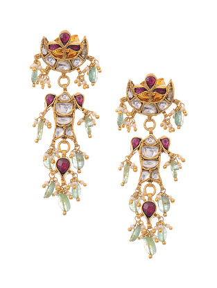 Emerald Gold Plated Kundan Inspired Silver Earrings