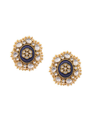 Blue Gold Plated Kundan Inspired Silver Earrings