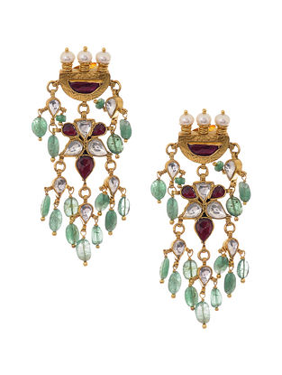 Emerald Gold Plated Kundan Inspired Silver Earrings