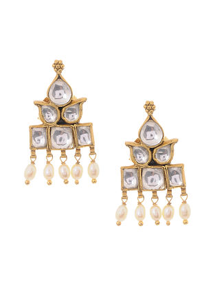 Gold Plated Kundan Inspired Silver Earrings