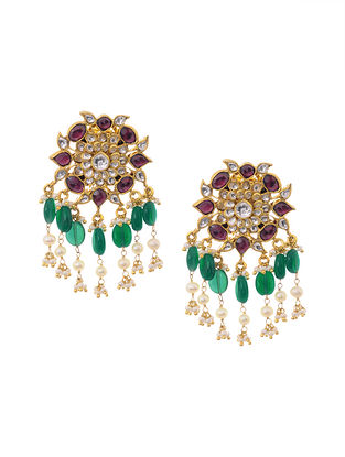 Green Pink Gold Plated Polki Earrings
