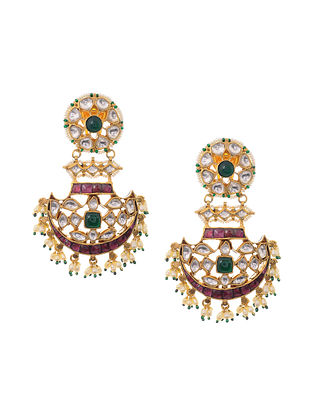 Green Pink Gold Plated Kundan Inspired Silver Earrings with Pearls