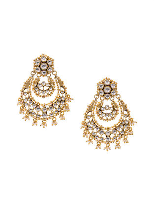 Gold Plated Kundan Inspired Silver Earrings with Pearls