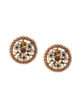 Multicolored Gold Plated Kundan Inspired Silver Earrings with Pearls