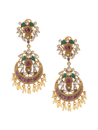 Multicolored Gold Plated Kundan Inspired Silver Earrings