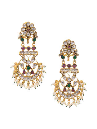 Green Pink Gold Plated Kundan Inspired Silver Earrings