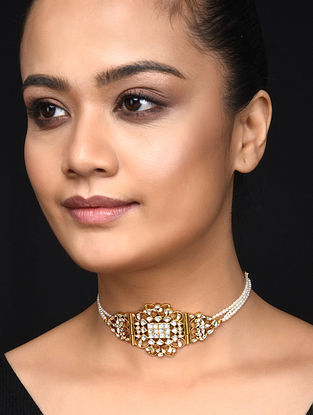 Pearl Gold Plated Kundan Inspired Silver Necklace