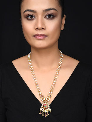 Pink Green Gold Plated Kundan Inspired Silver Necklace