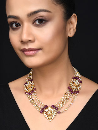Pink Gold Plated Kundan Inspired Silver Necklace with Pearls