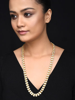 Gold Plated Kundan Inspired Silver Necklace