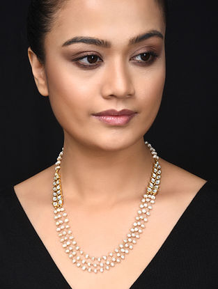 Gold Plated Kundan Inspired Silver Necklace with Pearls