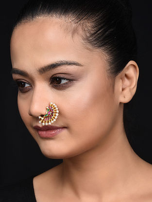 Tourmaline Gold Plated Nose Ring