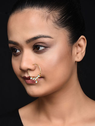 Gold Plated Kundan Inspired Silver Nose Ring