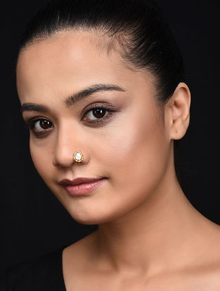 Gold Plated Kundan Inspired Silver Nose Clip