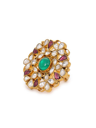 Pink Green Gold Plated Adjustable Silver Ring