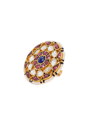 Pink Blue Gold Plated Kundan Inspired Silver Adjustable Silver Ring