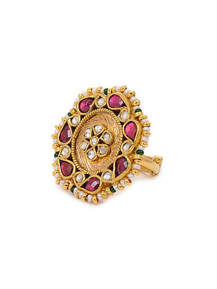 Pink Gold Plated Kundan Inspired Silver Adjustable Ring